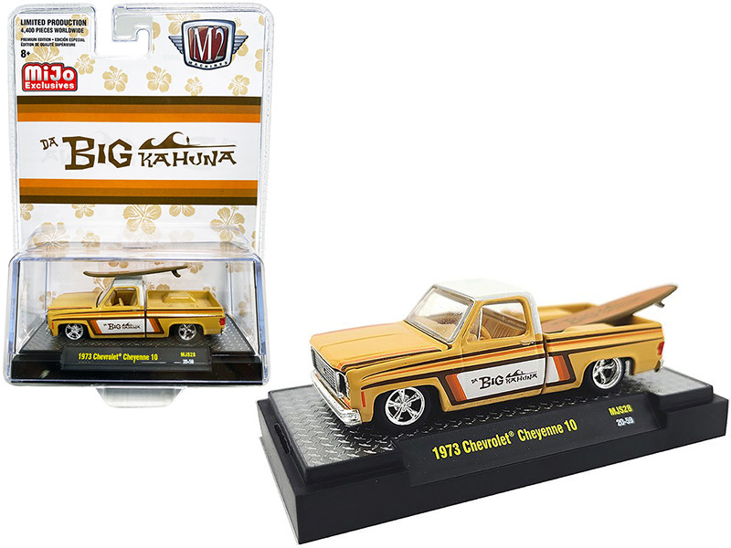 1973 Chevrolet Cheyenne 10 Pickup Truck Surfboard Big Kahuna Limited Edition 4400 pieces Worldwide 1/64 Diecast Model Car M2 Machines 31500-MJS28