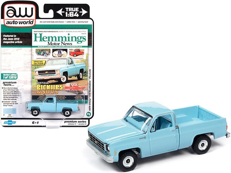 1979 Chevrolet C10 Scottsdale Fleetside Pickup Truck Light Blue Hemmings Motor News Magazine Cover Car June 2018 Limited Edition 13816 pieces Worldwide 1/64 Diecast Model Car Autoworld 64272 AWSP048 A