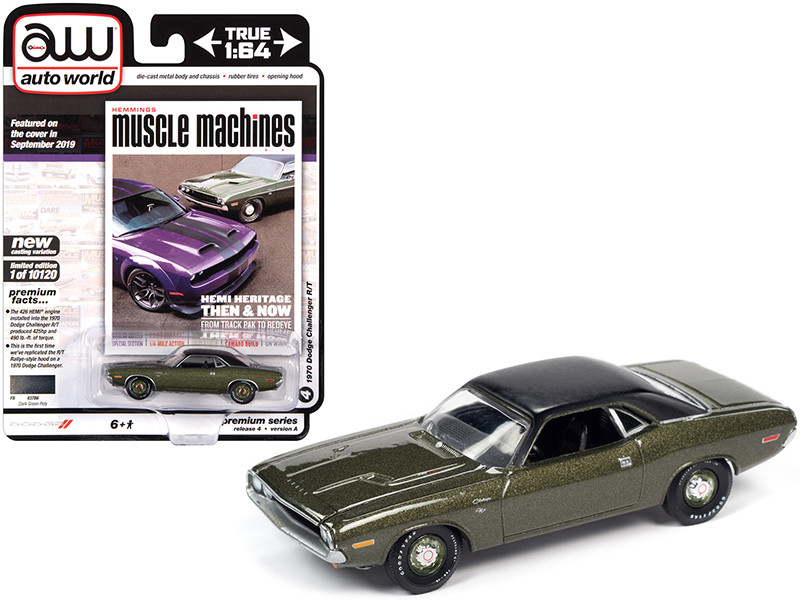 1970 Dodge Challenger R/T Dark Green Metallic Flat Black Vinyl Top Hemmings Muscle Machines Magazine Cover Car September 2019 Limited Edition 10120 pieces Worldwide 1/64 Diecast Model Car Autoworld 64272 AWSP050 A
