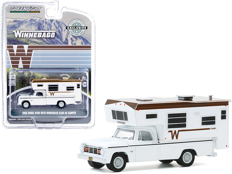 1966 Dodge D100 Pickup Truck Winnebago Slide-In Camper White Brown Top Hobby Exclusive 1/64 Diecast Model Car Greenlight 30189