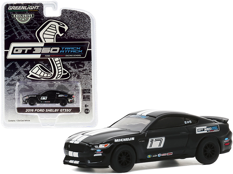 2016 Ford Mustang Shelby GT350 #17 Shadow Black White Stripes Ford Performance Racing School GT350 Track Attack Hobby Exclusive 1/64 Diecast Model Car Greenlight 30191