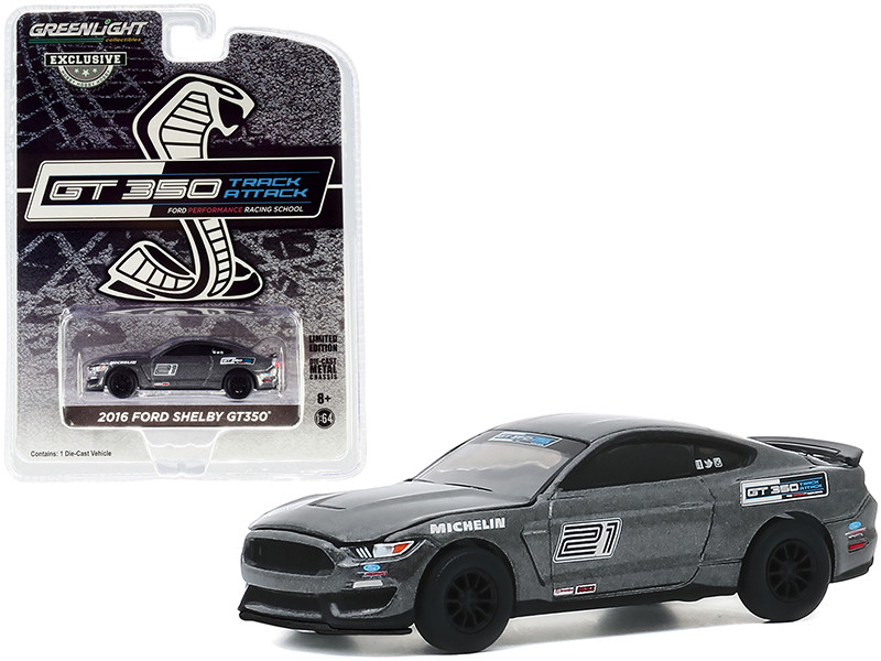 2016 Ford Mustang Shelby GT350 #21 Magnetic Gray Ford Performance Racing School GT350 Track Attack Hobby Exclusive 1/64 Diecast Model Car Greenlight 30192