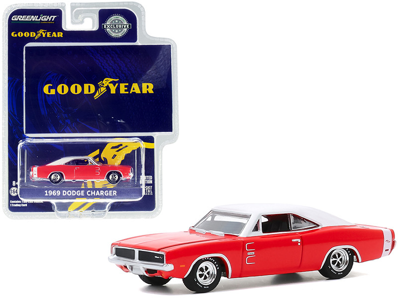 1969 Dodge Charger Red White Top Wide Boots GT The low wide look of action from Goodyear Goodyear Vintage Ad Cars Hobby Exclusive 1/64 Diecast Model Car Greenlight 30196