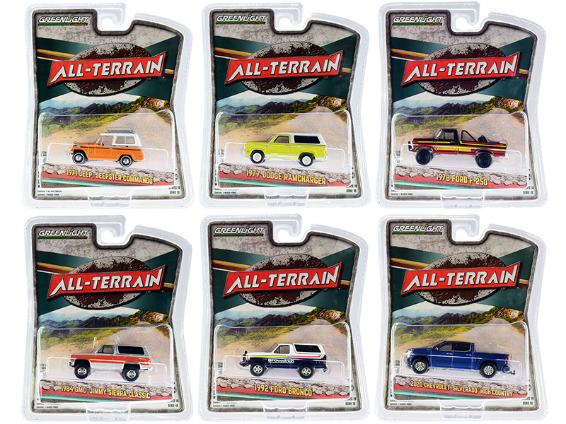 All Terrain Set of 6 pieces Series 10 1/64 Diecast Model Cars Greenlight 35170