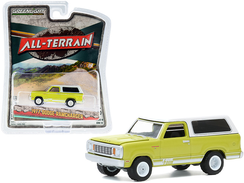 1977 Dodge Ramcharger Four by Four Stripe Kit Bright Green White Top All Terrain Series 10 1/64 Diecast Model Car Greenlight 35170 B
