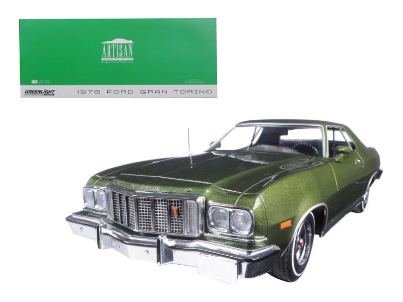 1976 Ford Gran Torino Dark Green Metallic 1/18 Diecast Model Car Greenlight 19018