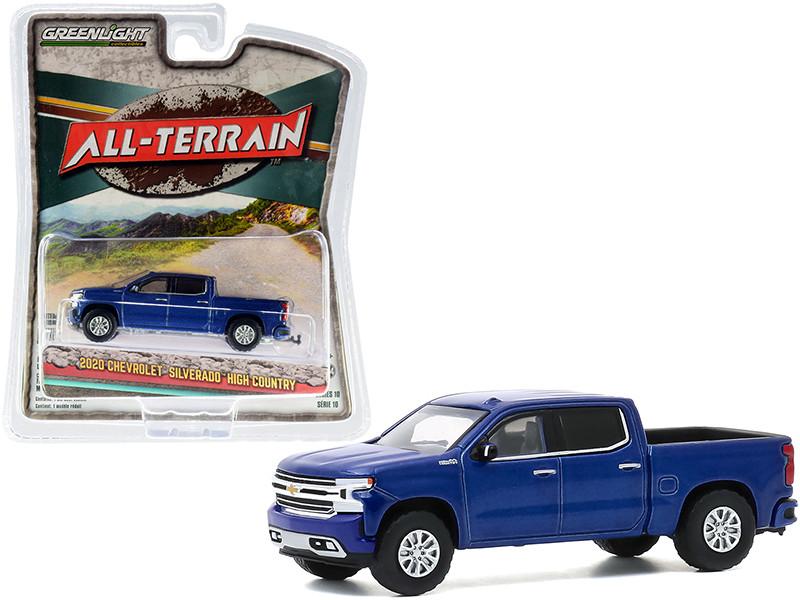 2020 Chevrolet Silverado High Country Pickup Truck North Sky Blue Metallic All Terrain Series 10 1/64 Diecast Model Car Greenlight 35170 F