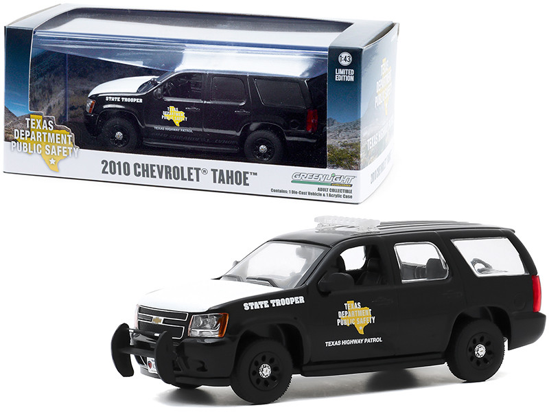2010 Chevrolet Tahoe Black White Hood Texas Highway Patrol State Trooper 1/43 Diecast Model Car Greenlight 86184