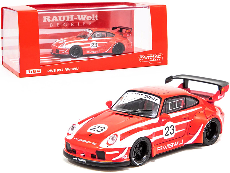 Porsche RWB 993 RWBWU #23 Red White Stripes RAUH-Welt BEGRIFF 1/64 Diecast Model Car Tarmac Works T64-017-WU