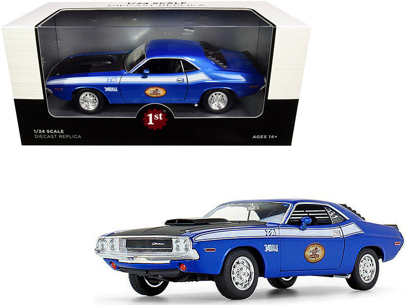 1970 Dodge Challenger T/A 340 Six Pack Blue Metallic Black Hood White Stripes The Busted Knuckle Garage 1/24 Diecast Model Car First Gear 49-3173B7