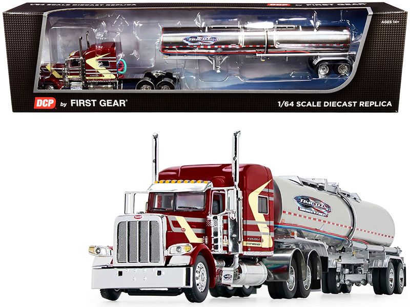 "Peterbilt 389 70"" Mid Roof Sleeper Cab Brenner Chemical Tank Trailer Time D.C. Burgundy 1/64 Diecast Model DCP First Gear 60-0786"