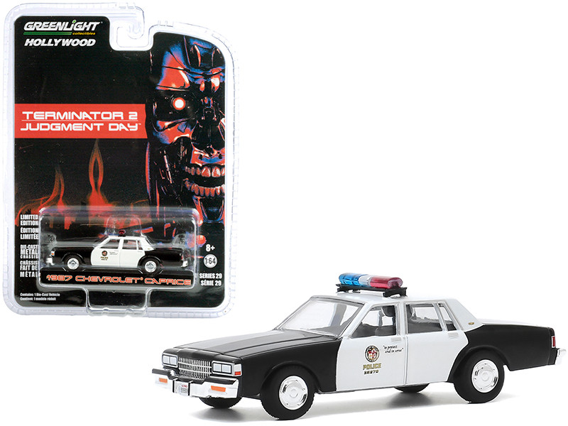 1987 Chevrolet Caprice Metropolitan Police Black White Terminator 2 Judgment Day 1991 Movie Hollywood Series Release 29 1/64 Diecast Model Car Greenlight 44890 F