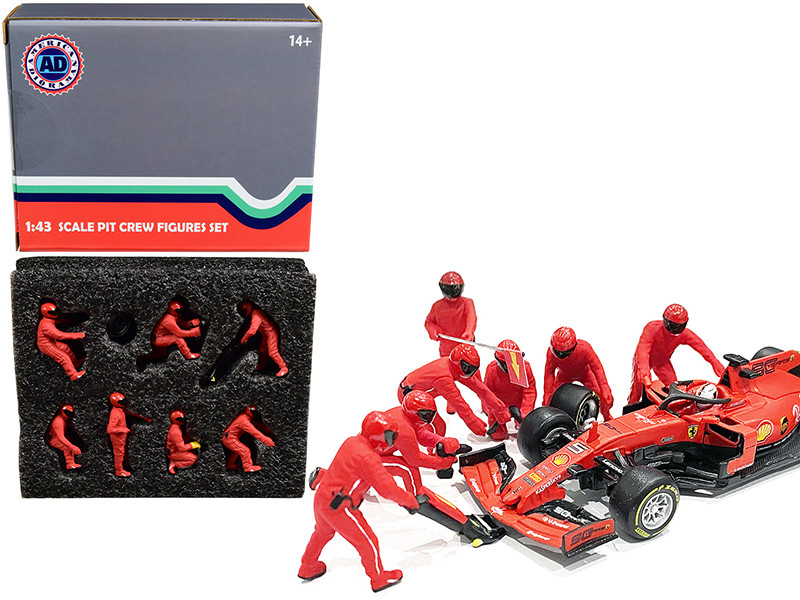 Formula One F1 Pit Crew 7 Figurine Set Team Red 1/43 Scale Models American Diorama 38382
