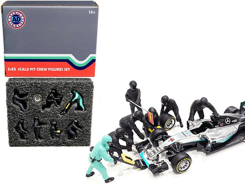 Formula One F1 Pit Crew 7 Figurine Set Team Black 1/43 Scale Models American Diorama 38383