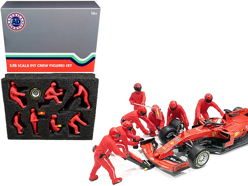 Formula One F1 Pit Crew 7 Figurine Set Team Red 1/18 Scale Models American Diorama 76550