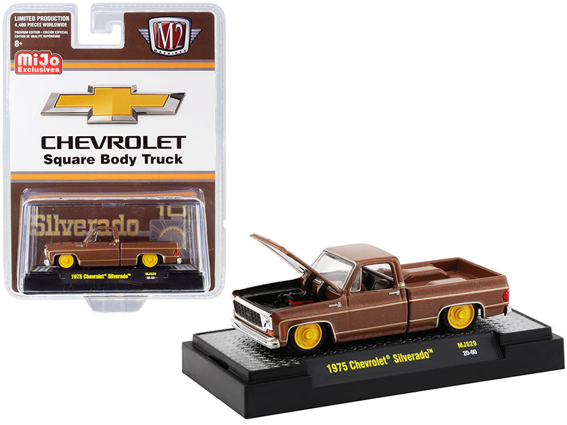1975 Chevrolet Silverado Pickup Square Body Truck Brown Metallic Limited Edition 4400 pieces Worldwide 1/64 Diecast Model Car M2 Machines 31500-MJS29