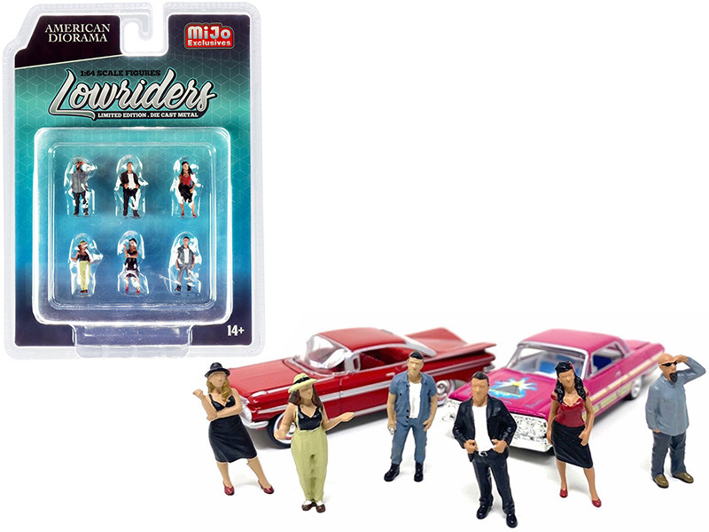 Lowriders 6 piece Diecast Figurine Set for 1/64 Scale Models American Diorama 38408