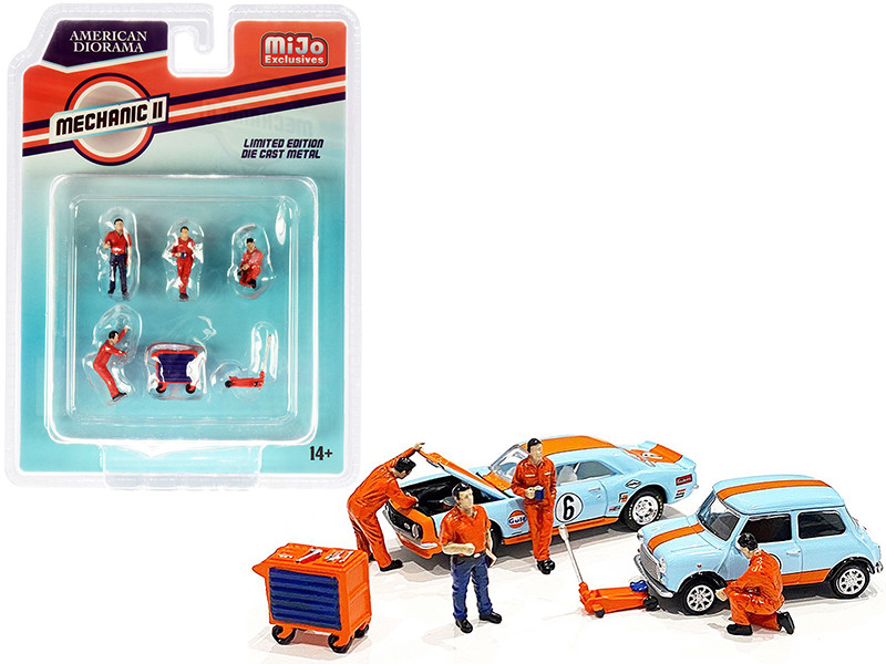 Mechanic ll Diecast Set of 6 pieces 4 Figurines 2 Accessories for 1/64 Scale Models American Diorama 38410