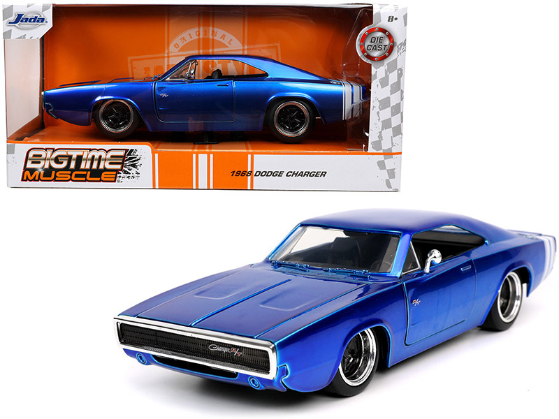 1968 Dodge Charger R/T Candy Blue White Stripes Bigtime Muscle 1/24 Diecast Model Car Jada 31865