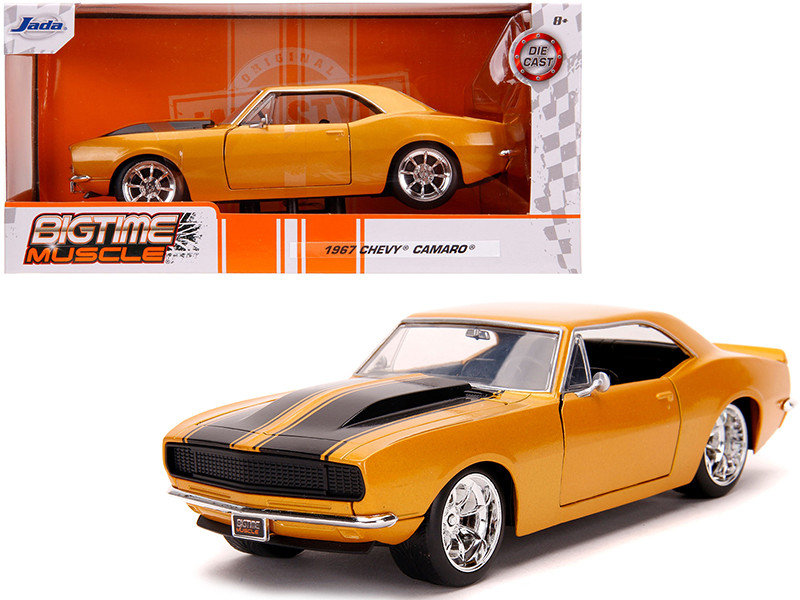 1967 Chevrolet Camaro Orange Metallic Black Stripes Bigtime Muscle 1/24 Diecast Model Car Jada 31866