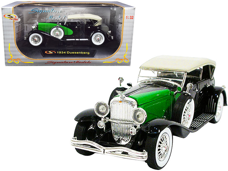 1934 Duesenberg Black Green 1/32 Diecast Model Car Signature Models 32310