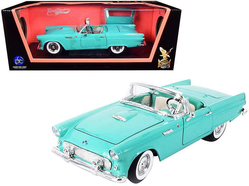 1955 Ford Thunderbird Convertible Turquoise 1/18 Diecast Model Car Road Signature 92068