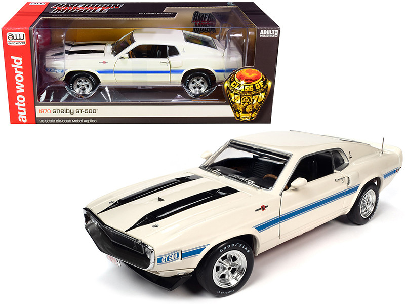 1970 Shelby GT-500 428 Cobra Jet Wimbledon White Blue Black Stripes Class of 1970 1/18 Diecast Model Car Autoworld AMM1229
