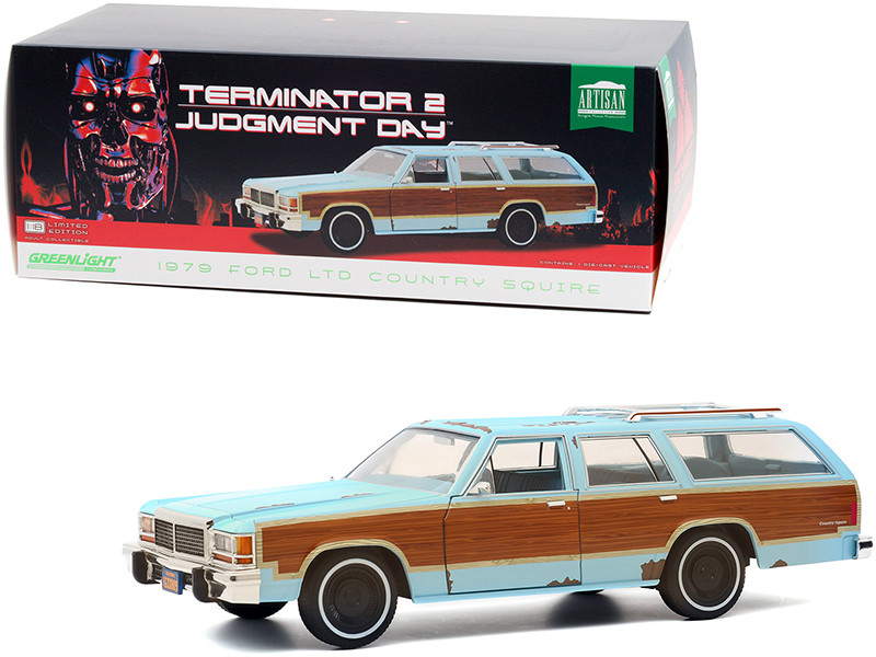 1979 Ford LTD Country Squire Light Blue Wood Grain Paneling Weathered Terminator 2 Judgment Day 1991 Movie 1/18 Diecast Model Car Greenlight 19085