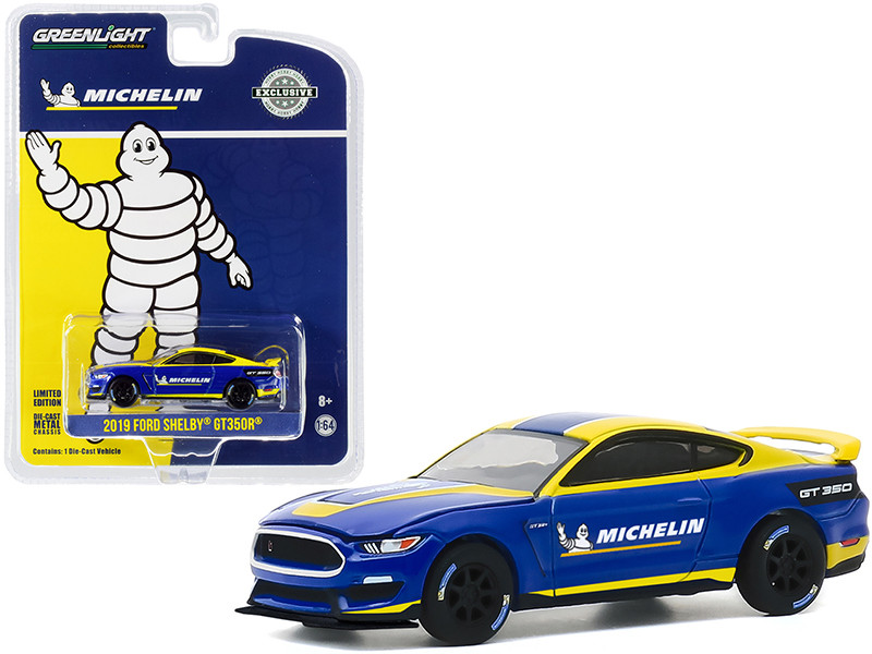 2019 Ford Mustang Shelby GT350R Michelin Tires Blue Yellow Stripes Hobby Exclusive 1/64 Diecast Model Car Greenlight 30186