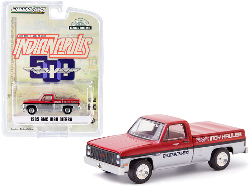 1985 GMC High Sierra Pickup Official Truck Bed Cover Red Metallic Silver 69th Annual Indianapolis 500 Mile Race GMC Indy Hauler Hobby Exclusive 1/64 Diecast Model Car Greenlight 30202