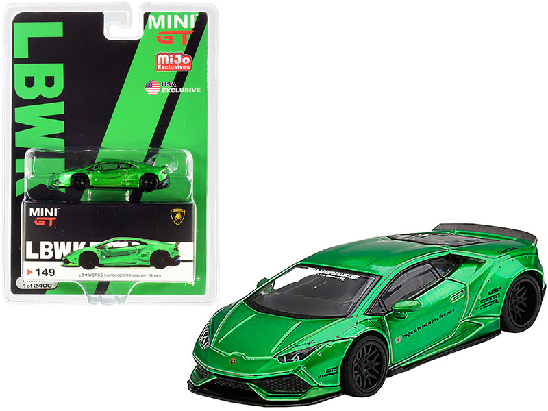 Lamborghini Huracan Version 2 LB Works Green Metallic Limited Edition 2400 pieces Worldwide 1/64 Diecast Model Car True Scale Miniatures MGT00149