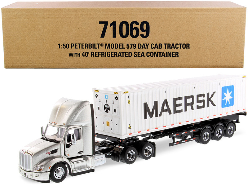 Peterbilt 579 Day Cab Truck Tractor Flatbed Trailer 40' Refrigerated Sea Container Maersk Legendary Silver White Transport Series 1/50 Diecast Model Diecast Masters 71069