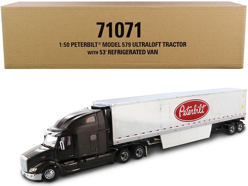 Peterbilt 579 UltraLoft Truck Tractor 53' Refrigerated Van Legendary Black Chrome Transport Series 1/50 Diecast Model Diecast Masters 71071