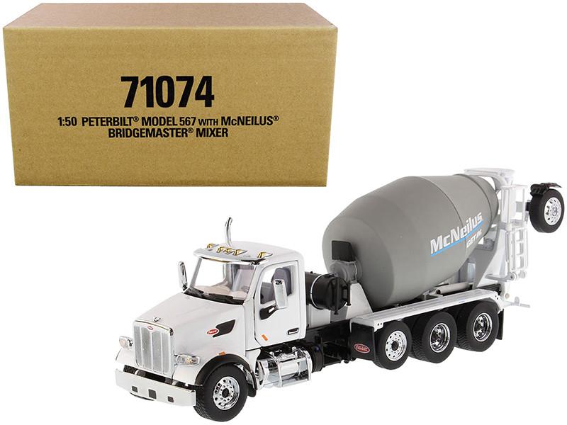 Peterbilt 567 with McNeilus Bridgemaster Mixer White Gray 1/50 Diecast Model Diecast Masters 71074