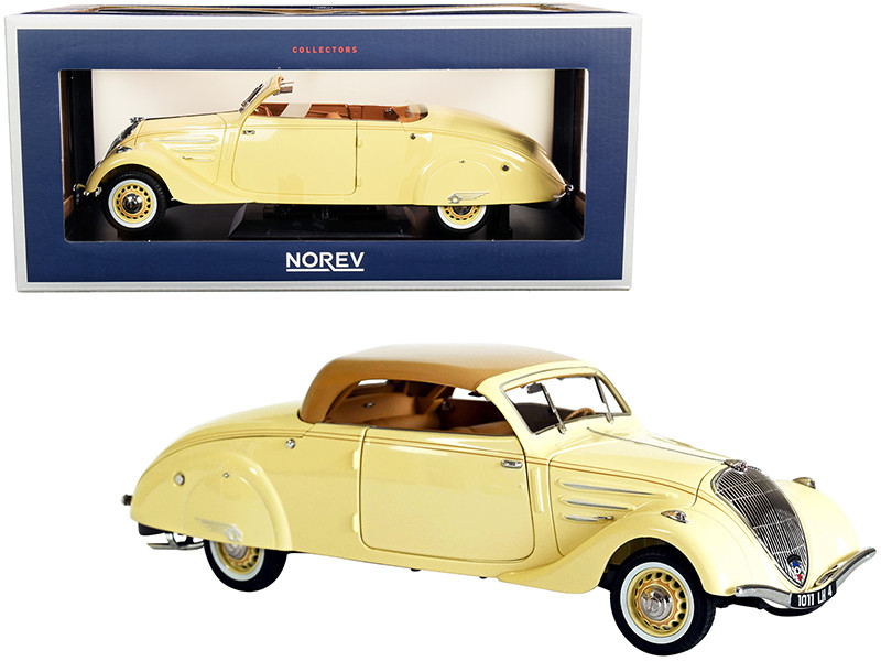 1937 Peugeot 402 Eclipse Convertible Cream Caramel Brown Top 1/18 Diecast Model Car Norev 184872