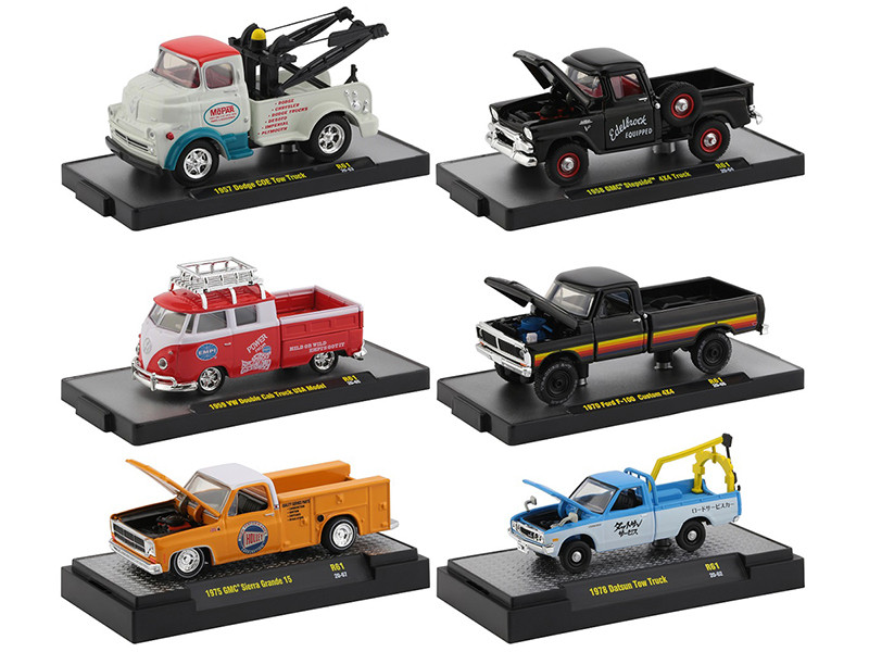 Auto Shows 6 piece Set Release 61 DISPLAY CASES 1/64 Diecast Model Cars M2 Machines 32500-61