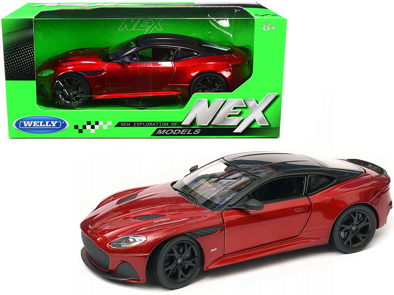 Aston Martin DBS Superleggera Red Metallic Black Top NEX Models 1/24 Diecast Model Car Welly 24095