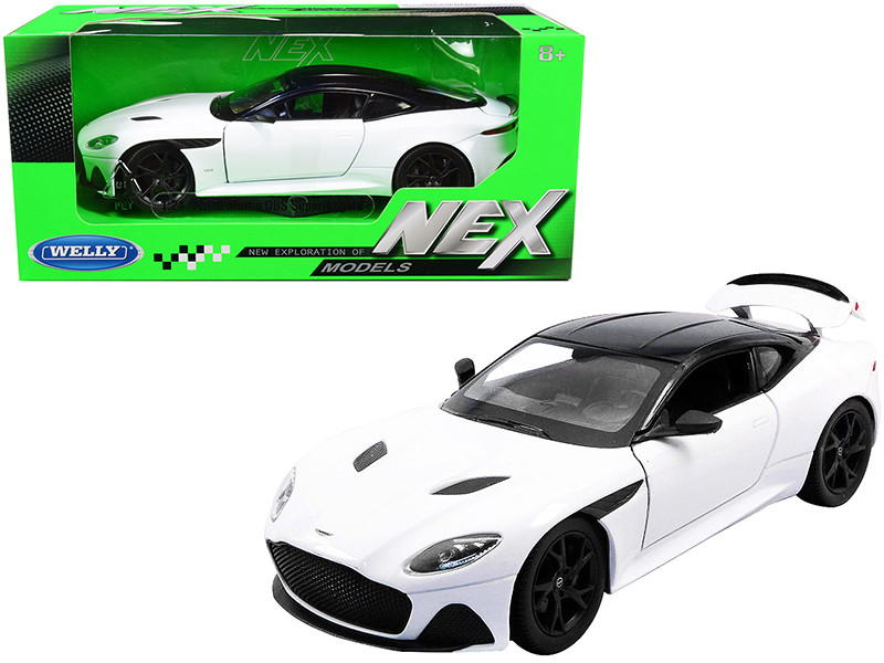 Aston Martin DBS Superleggera White Black Top NEX Models 1/24 Diecast Model Car Welly 24095