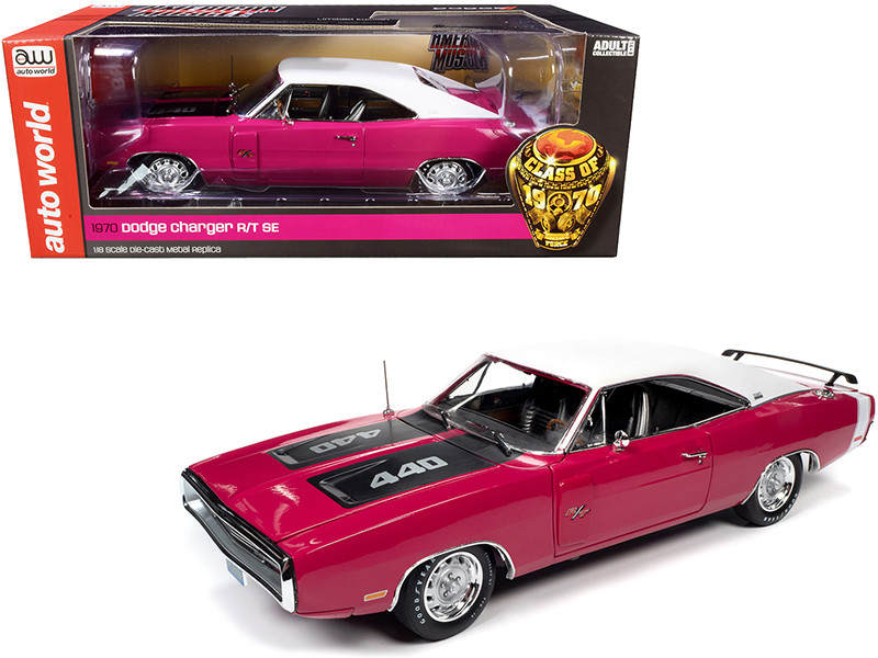 1970 Dodge Charger R/T SE 440 Hardtop Panther Pink White Top Stripe Black Stripes Class of 1970 1/18 Diecast Model Car Autoworld AMM1215