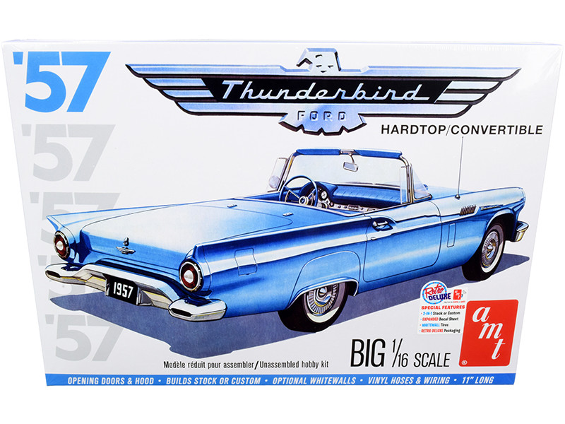 Skill 3 Model Kit 1957 Ford Thunderbird Convertible 2-in-1 Kit 1/16 Scale Model AMT AMT1206