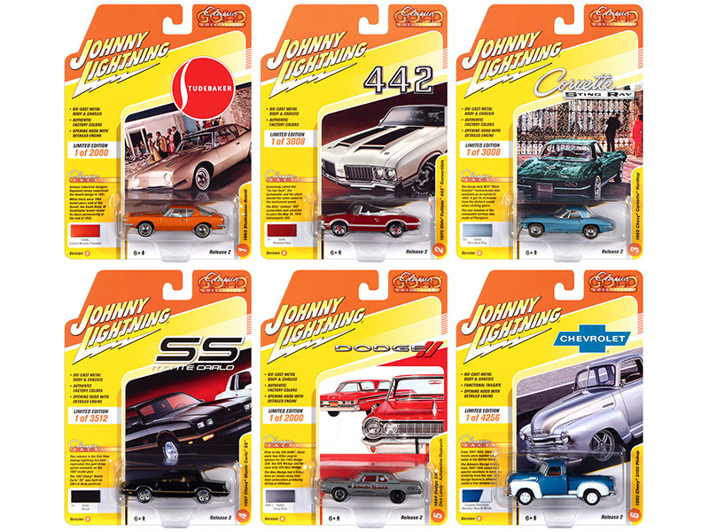 Classic Gold Collection 2020 Set B of 6 Cars Release 2 1/64 Diecast Model Cars Johnny Lightning JLCG022 B