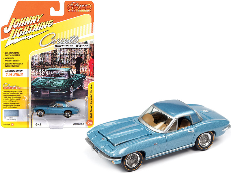 1965 Chevrolet Corvette Hardtop Mist Blue Metallic Classic Gold Collection Limited Edition 3008 pieces Worldwide 1/64 Diecast Model Car Johnny Lightning JLCG022 JLSP103 B