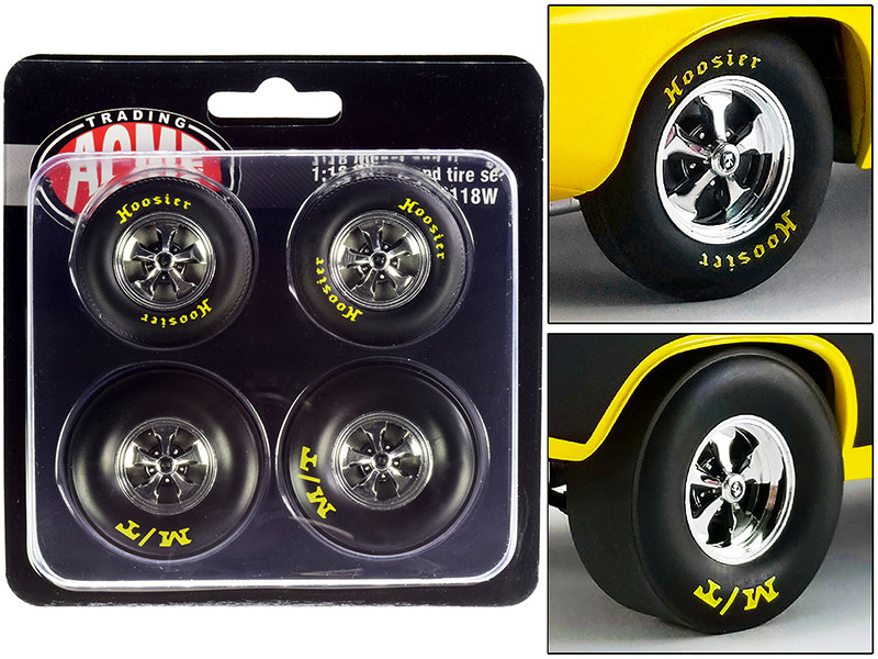 Drag Wheel Tire Set of 4 pieces from 1972 Plymouth HEMI Drag Barracuda 1/18 ACME A1806118W