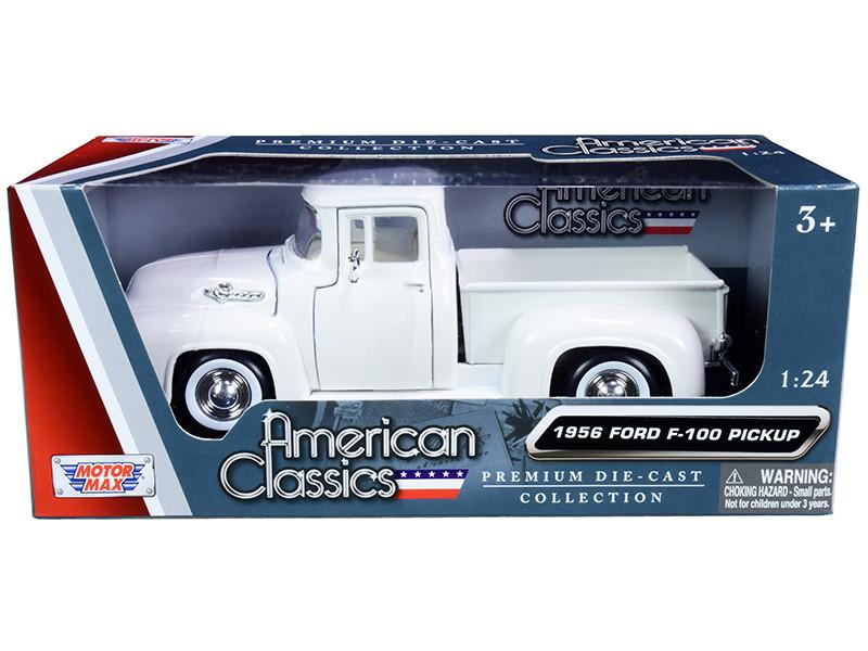 1956 Ford F-100 Pickup Truck White Whitewall Tires American Classics 1/24 Diecast Model Car Motormax 73235