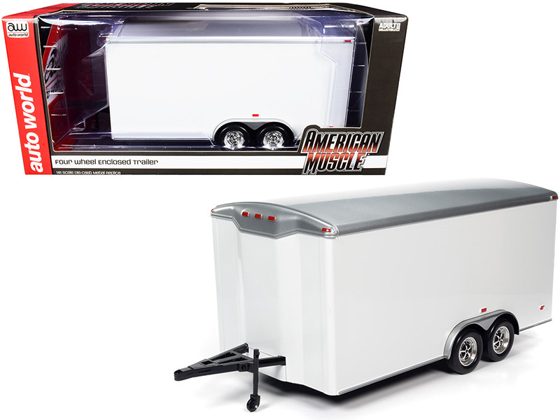 Four Wheel Enclosed Car Trailer White Silver Top for 1/18 Scale Model Cars Autoworld AMM1238