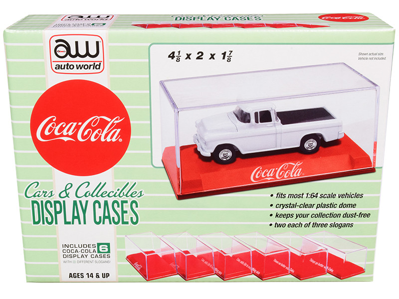 6 Collectible Acrylic Display Show Cases Red Plastic Bases 3 Different Slogans Coca Cola for 1/64 Scale Model Cars Autoworld AWDC022