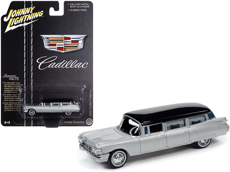 1959 Cadillac Hearse Silver Black Top Special Edition 1/64 Diecast Model Car Johnny Lightning JLSP091