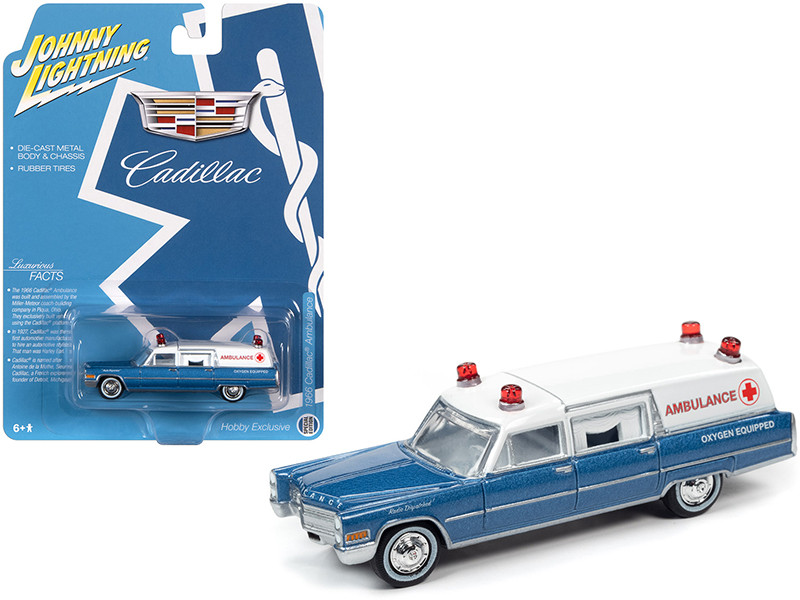 1966 Cadillac Ambulance Blue Metallic White Special Edition 1/64 Diecast Model Car Johnny Lightning JLSP099