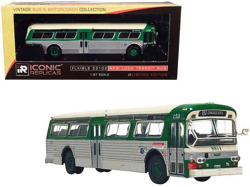 Flxible 53102 Transit Bus CTA Chicago Illinois Green Silver Cream Top Vintage Bus Motorcoach Collection 1/87 Diecast Model Iconic Replicas 87-0241