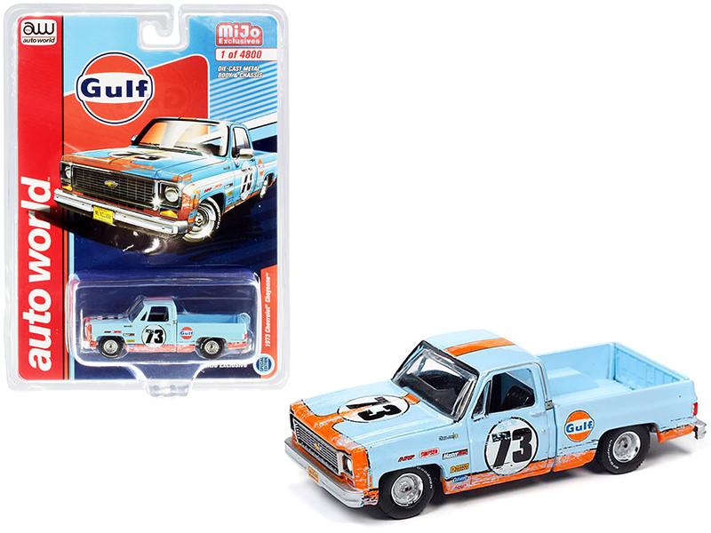 1973 Chevrolet Cheyenne Pickup Truck #73 Gulf Oil Light Blue Orange Weathered Limited Edition 4800 pieces Worldwide 1/64 Diecast Model Car Autoworld CP7670